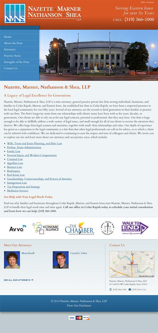 Law Firm Website Design for Nazette, Marner, Nathanson & Shea, LLP