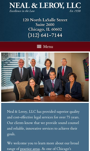 Responsive Mobile Attorney Website for Neal & Leroy, LLC