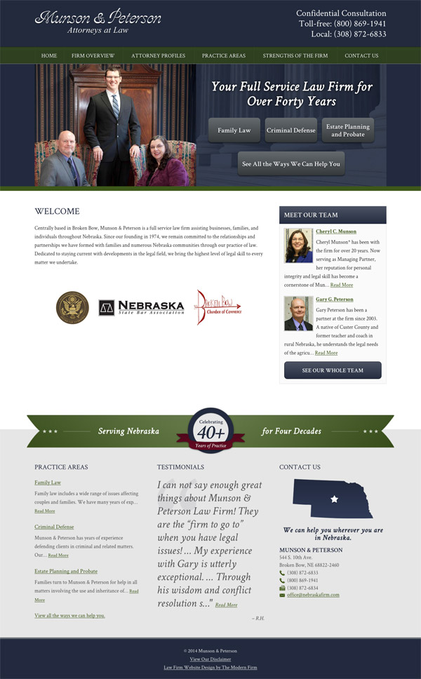 Law Firm Website Design for Munson & Peterson