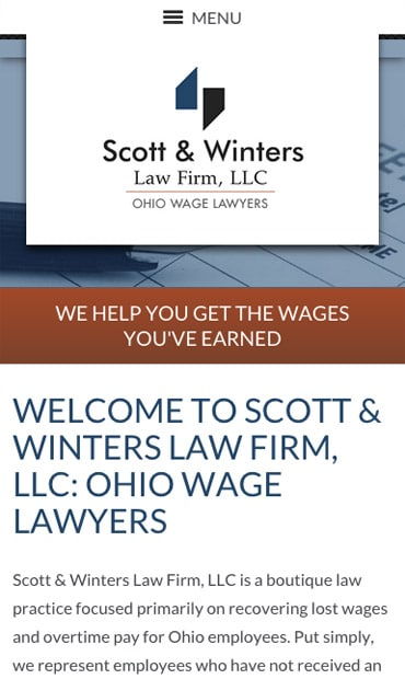 Responsive Mobile Attorney Website for Scott & Winters Law Firm, LLC