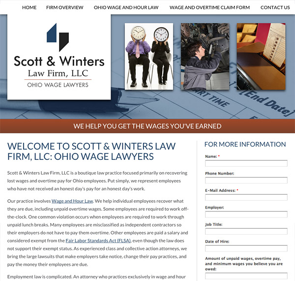 Mobile Friendly Law Firm Webiste for Scott & Winters Law Firm, LLC