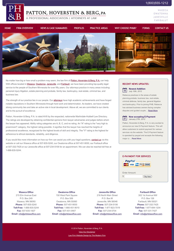 Law Firm Website Design for Patton, Hoversten & Berg, PA