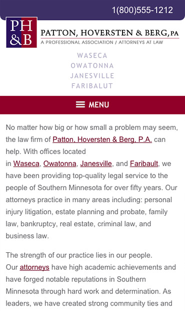 Responsive Mobile Attorney Website for Patton, Hoversten & Berg, PA