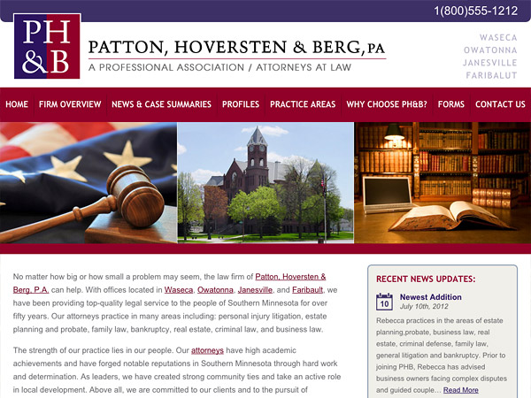 Mobile Friendly Law Firm Webiste for Patton, Hoversten & Berg, PA
