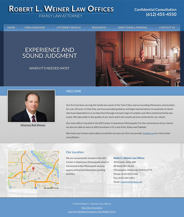 Law Firm Website Design for Robert L. Weiner Law Offices