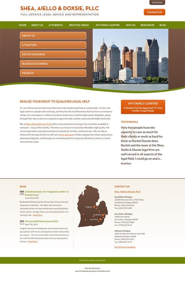 Law Firm Website Design for Shea, Aiello & Doxsie, PLLC