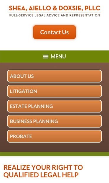 Responsive Mobile Attorney Website for Shea, Aiello & Doxsie, PLLC
