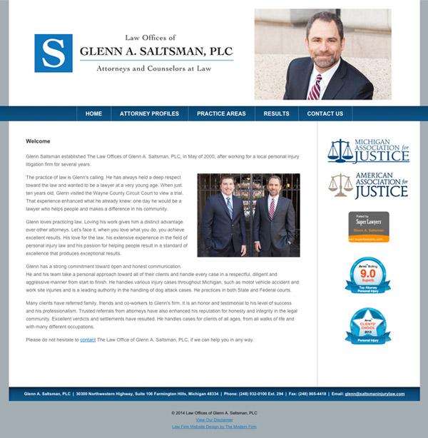 Law Firm Website Design for Law Offices of Glenn A. Saltsman, PLC