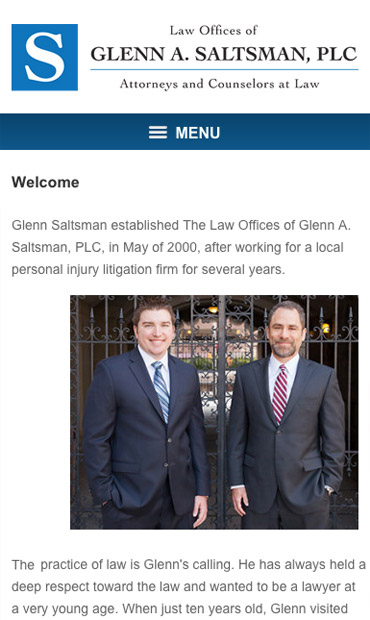 Responsive Mobile Attorney Website for Law Offices of Glenn A. Saltsman, PLC