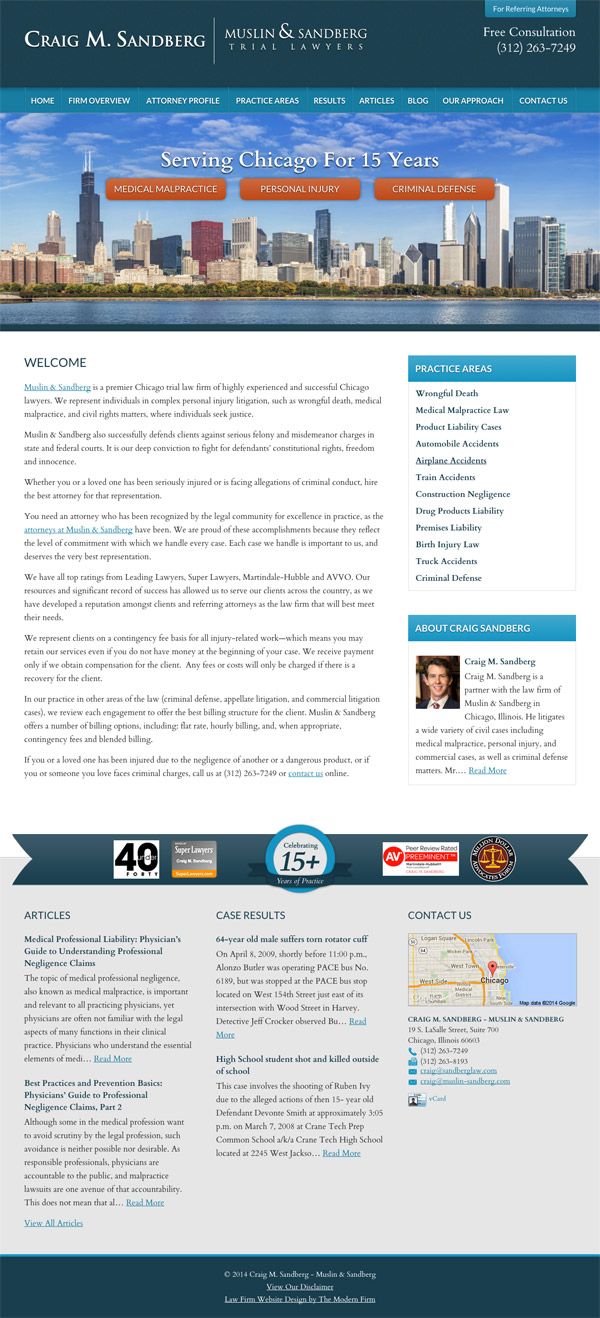 Law Firm Website Design for Craig M. Sandberg - Muslin & Sandberg