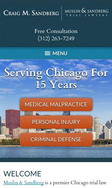Responsive Mobile Attorney Website for Craig M. Sandberg - Muslin & Sandberg