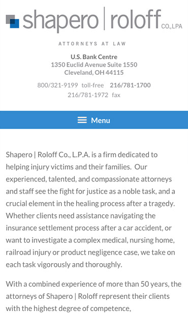 Responsive Mobile Attorney Website for Shapero | Roloff Co., L.P.A.