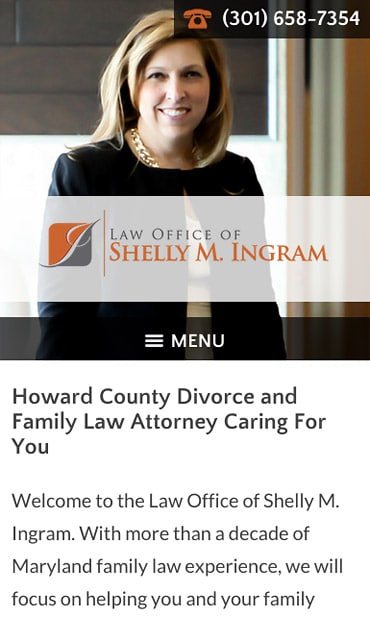 Responsive Mobile Attorney Website for Law Office of Shelly M. Ingram, LLC