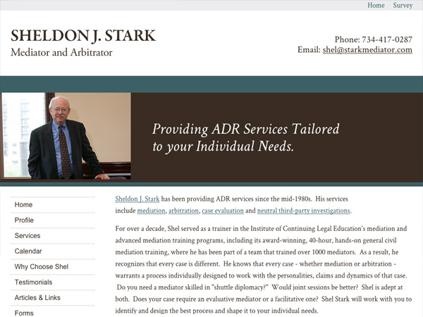 Mobile Friendly Law Firm Webiste for Sheldon J. Stark - Mediator