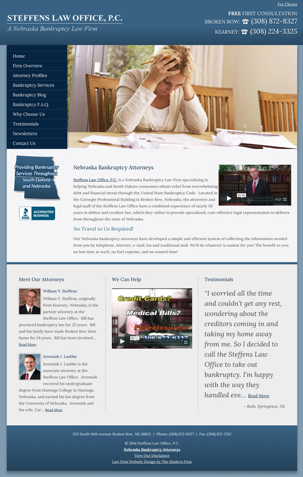 Law Firm Website Design for Steffens Law Office, P.C.