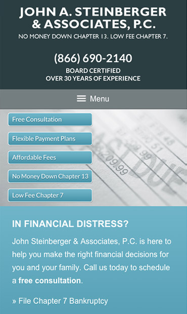 Responsive Mobile Attorney Website for John A. Steinberger & Associates