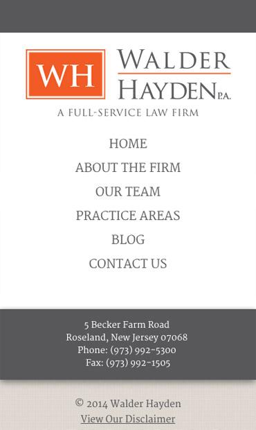Responsive Mobile Attorney Website for Walder Hayden, P.A.