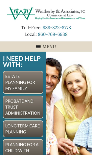 Responsive Mobile Attorney Website for Weatherby & Associates, PC