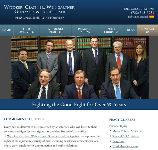 Mobile Friendly Law Firm Webiste for Wysoker, Glassner, Weingartner, Gonzalez, and Lockspeiser