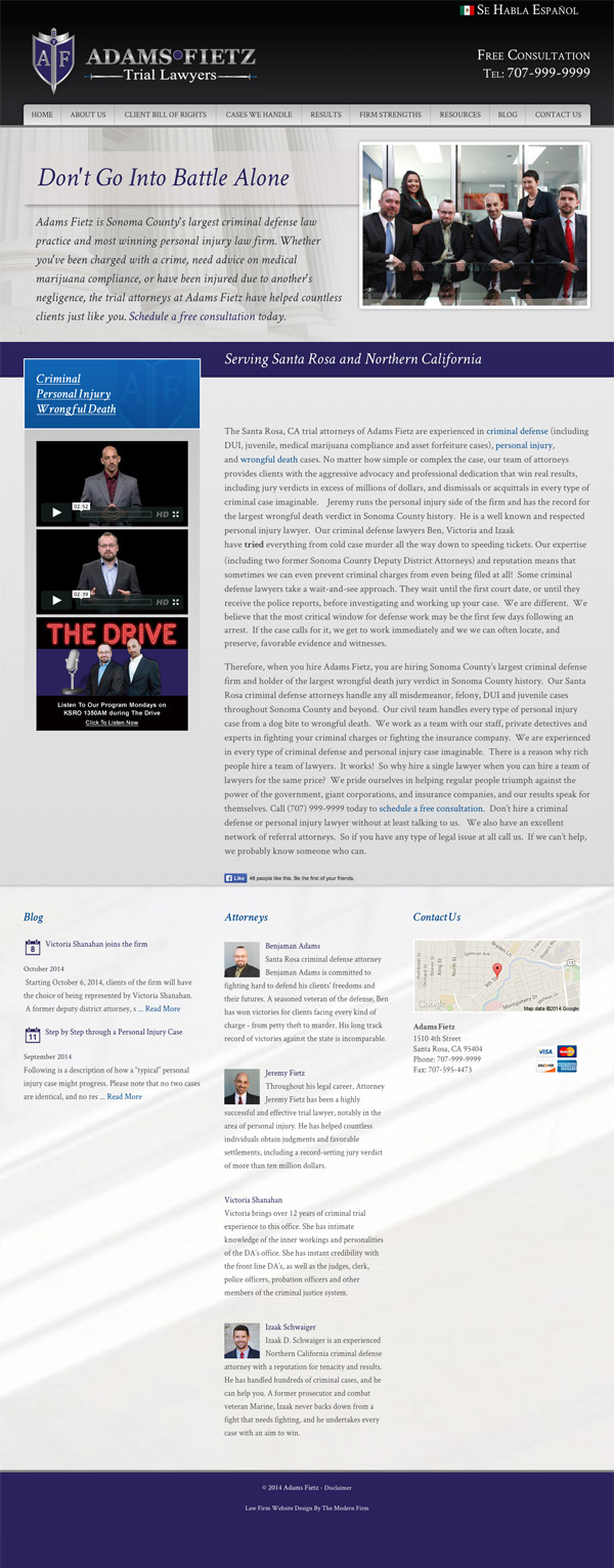 Law Firm Website Design for Adams Fietz