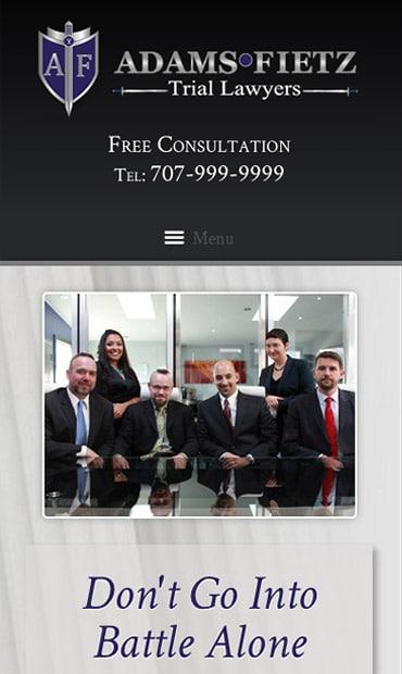 Responsive Mobile Attorney Website for Adams Fietz
