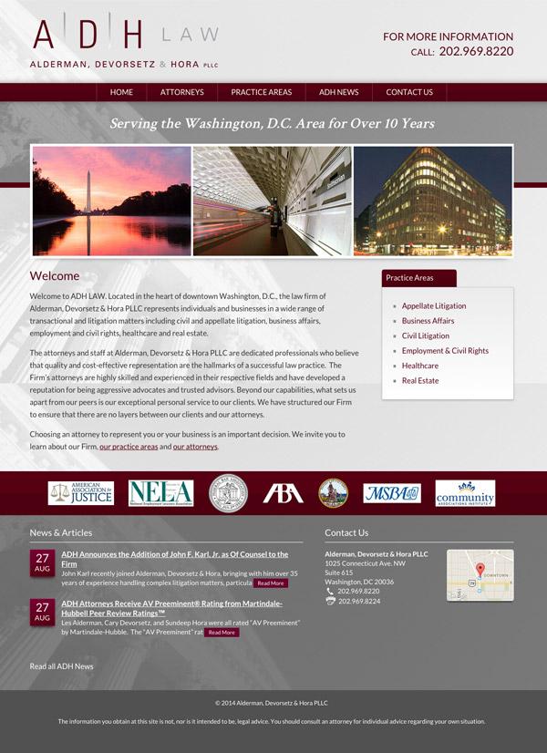 Law Firm Website Design for Alderman, Devorsetz & Hora PLLC