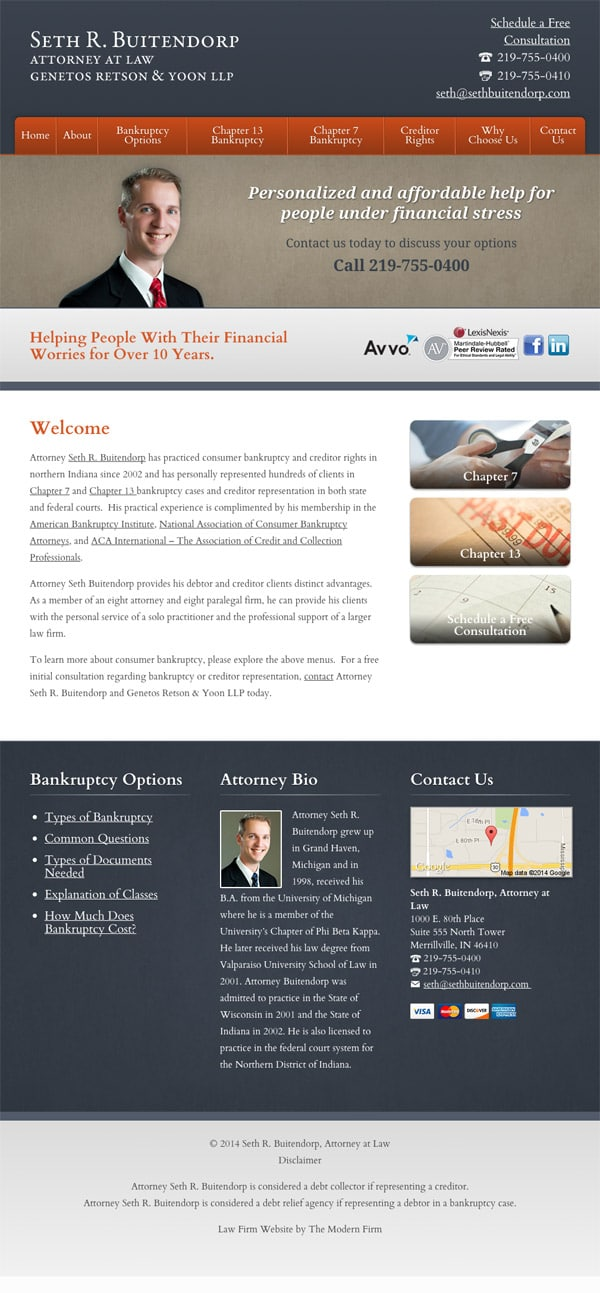 Law Firm Website Design for Seth R. Buitendorp, Attorney at Law