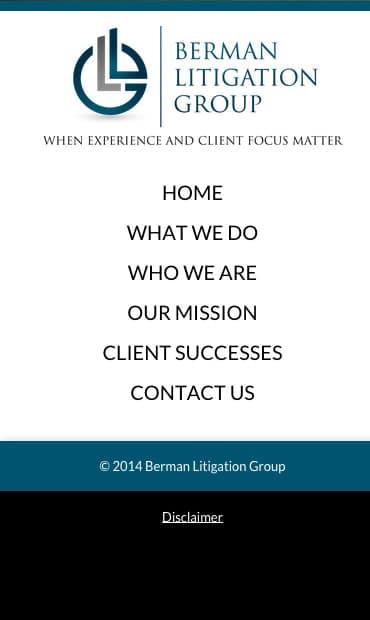 Responsive Mobile Attorney Website for Berman Litigation Group
