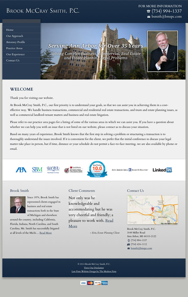 Law Firm Website Design for Brook McCray Smith, P.C.