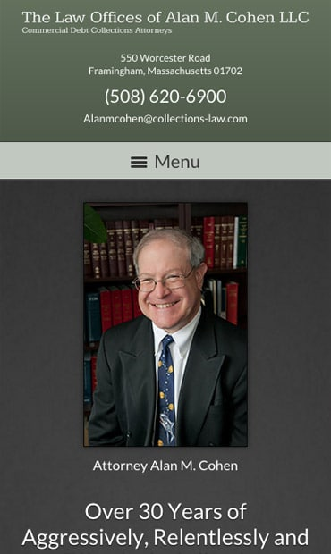 Responsive Mobile Attorney Website for The Law Offices of Alan M. Cohen, LLC