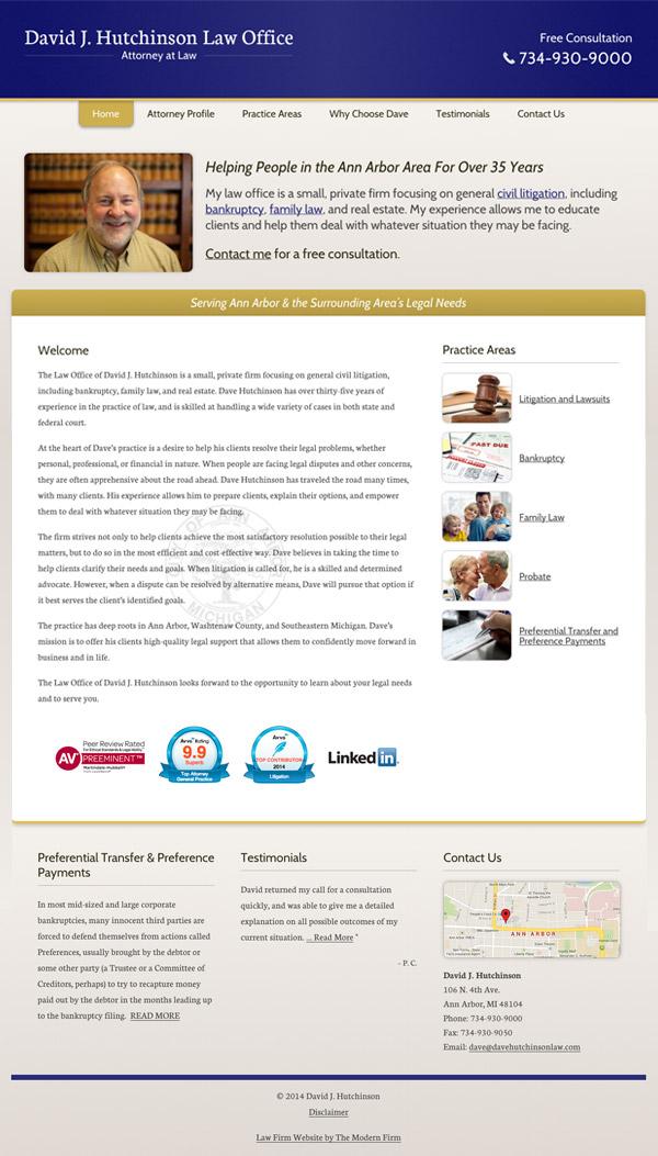 Law Firm Website Design for David J. Hutchinson