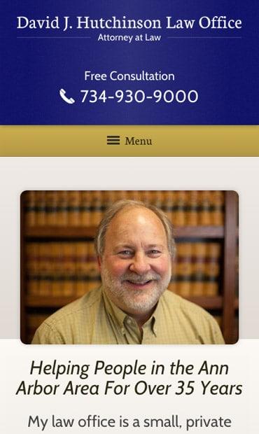 Responsive Mobile Attorney Website for David J. Hutchinson
