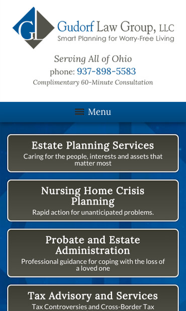 Responsive Mobile Attorney Website for Gudorf Law Group, LLC