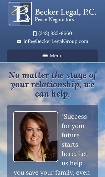 Responsive Mobile Attorney Website for Becker Legal, P.C.