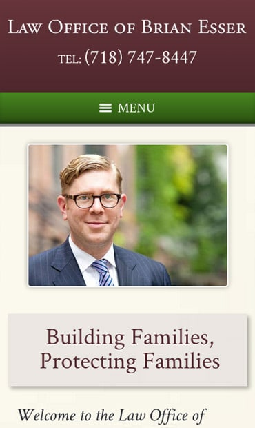 Responsive Mobile Attorney Website for Law Office of Brian Esser