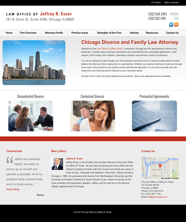 Law Firm Website for Law Office of Jeffrey R. Esser