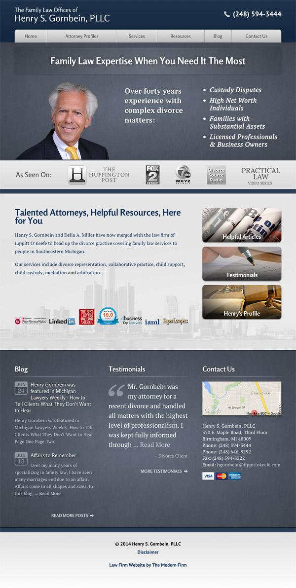 Law Firm Website Design for Henry S. Gornbein, PLLC