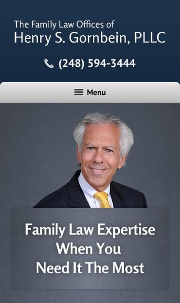 Responsive Mobile Attorney Website for Henry S. Gornbein, PLLC