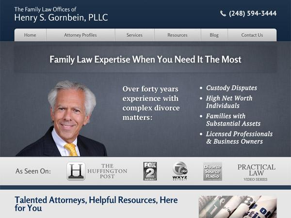 Mobile Friendly Law Firm Webiste for Henry S. Gornbein, PLLC