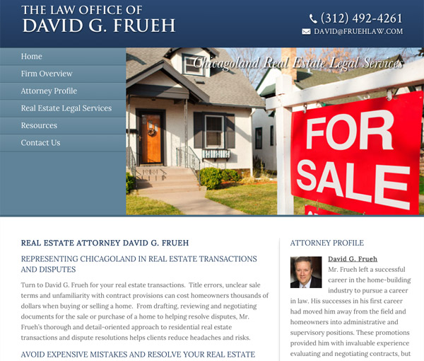 Mobile Friendly Law Firm Webiste for Law Office of David G. Frueh