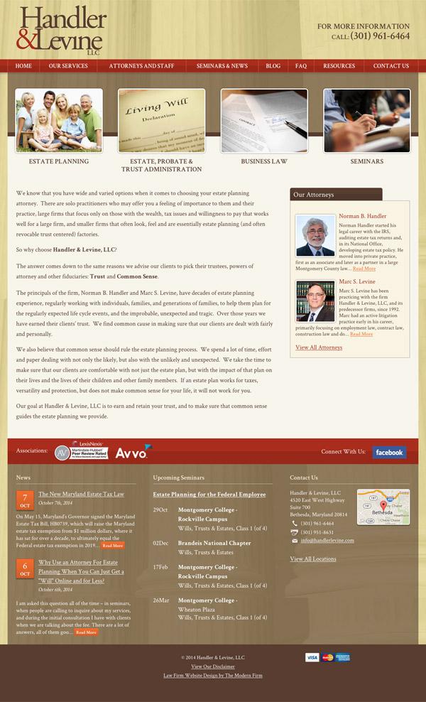 Law Firm Website Design for Handler & Levine LLC