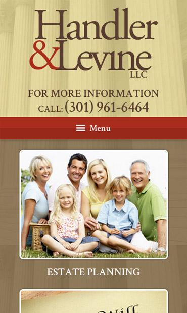 Responsive Mobile Attorney Website for Handler & Levine LLC