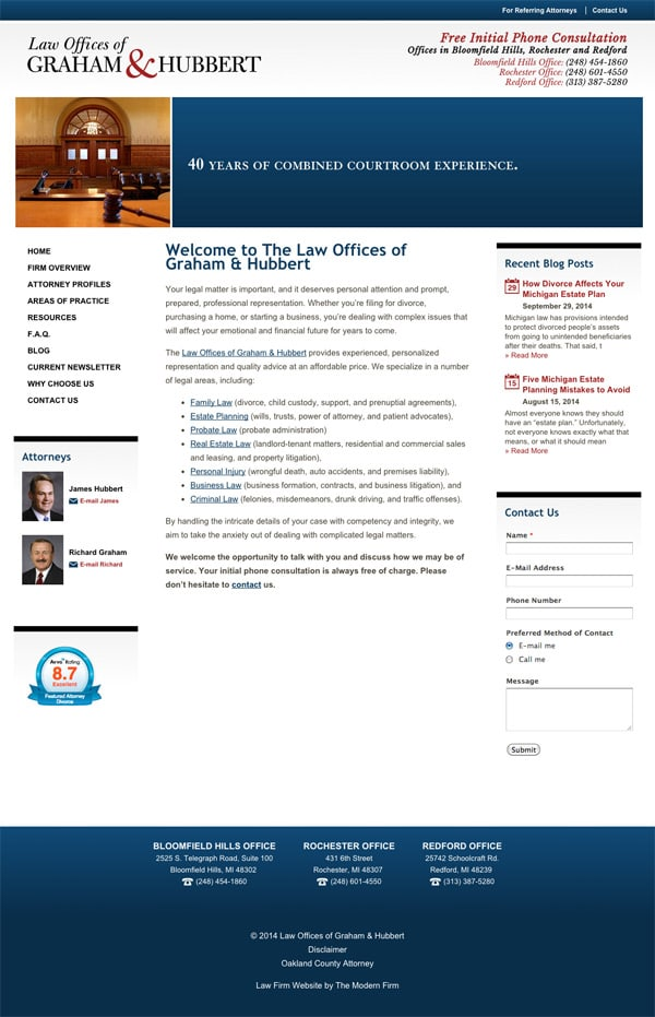 Law Firm Website Design for Law Offices of Graham & Hubbert