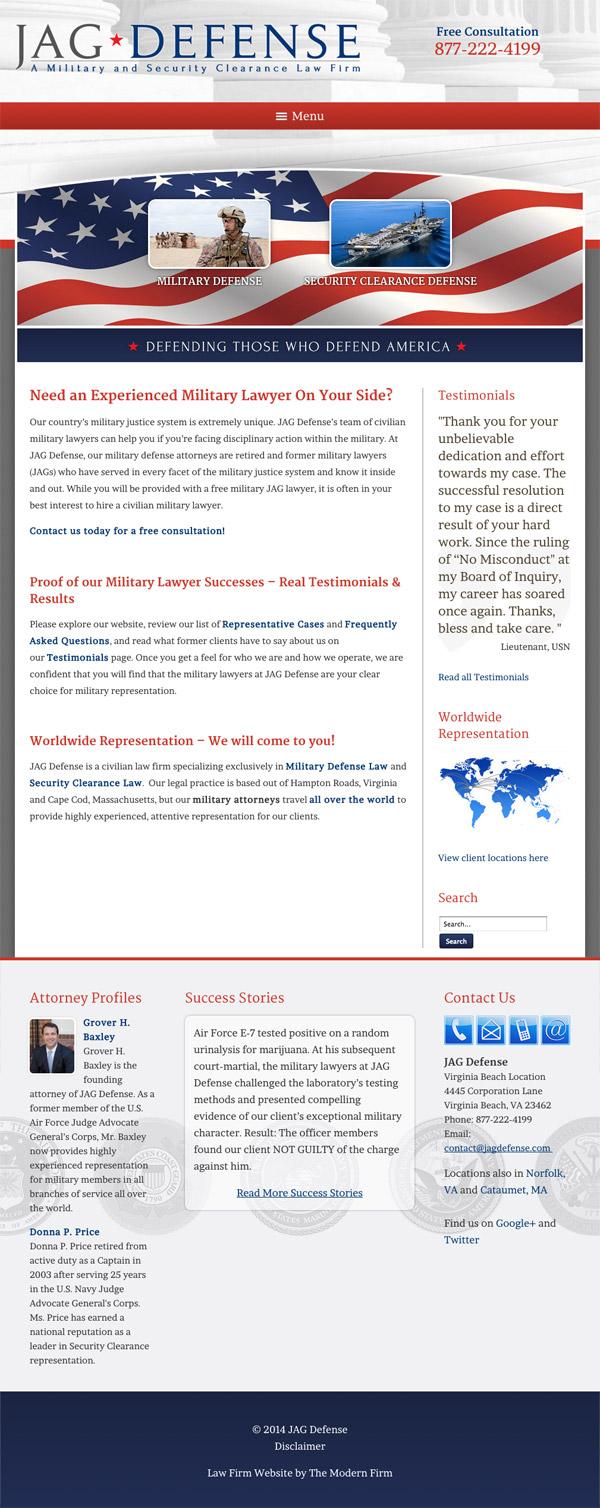 Law Firm Website Design for JAG Defense