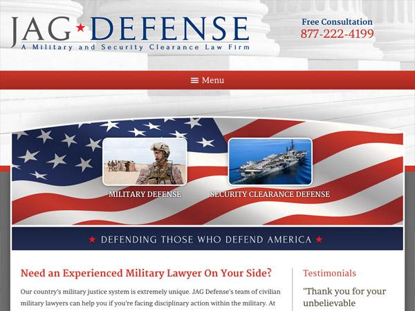 Mobile Friendly Law Firm Webiste for JAG Defense