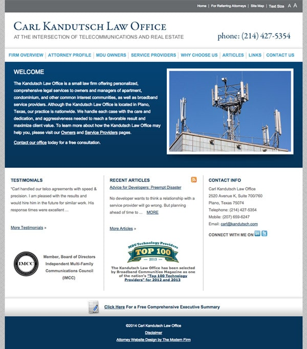 Law Firm Website for Carl Kandutsch Law Office