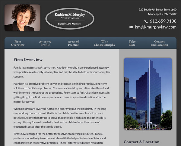 Mobile Friendly Law Firm Webiste for Kathleen M. Murphy, Attorney at Law