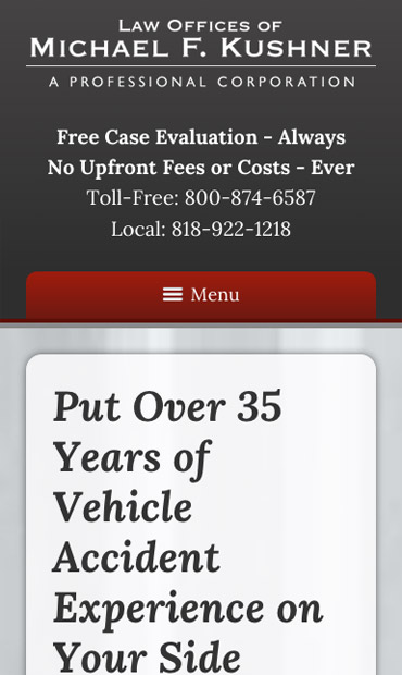 Responsive Mobile Attorney Website for Law Offices of Michael F. Kushner