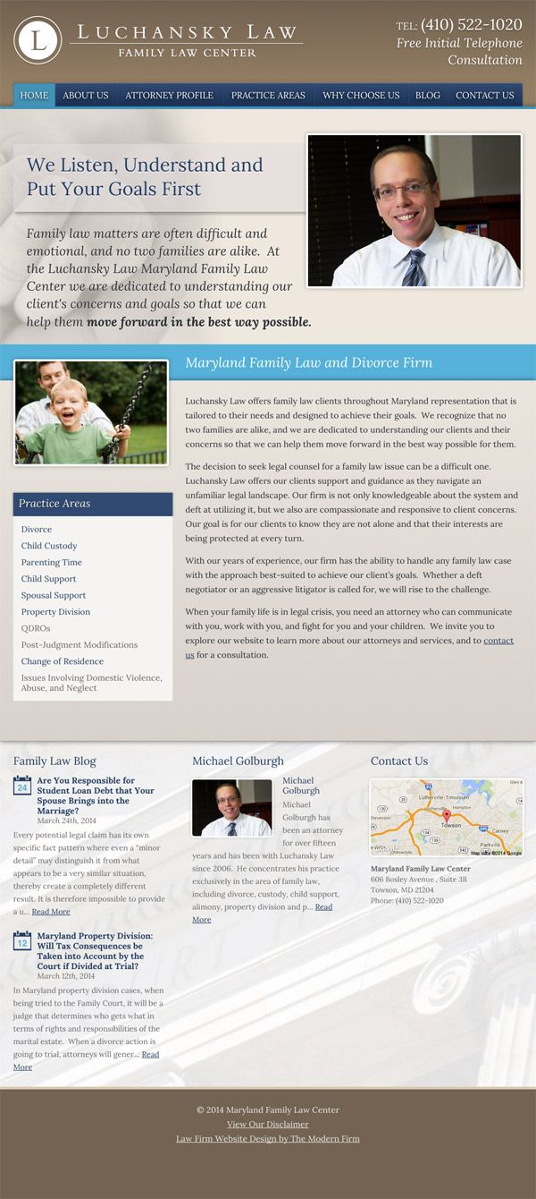 Law Firm Website Design for Luchansky Law - Maryland Family Law Center