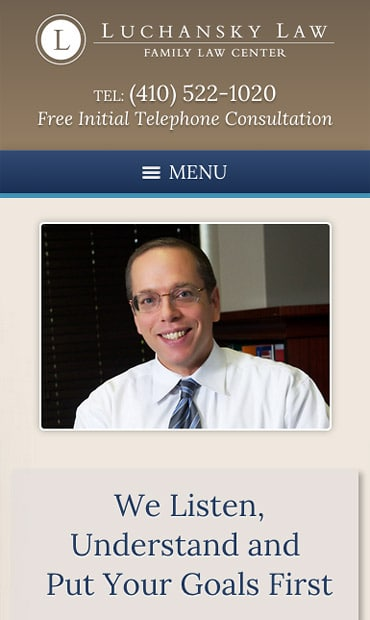 Responsive Mobile Attorney Website for Luchansky Law - Maryland Family Law Center